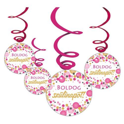 Boldog Szülinapot! Rózsaszín pasztelll Konfettis Függő Dekoráció, 6 db-os