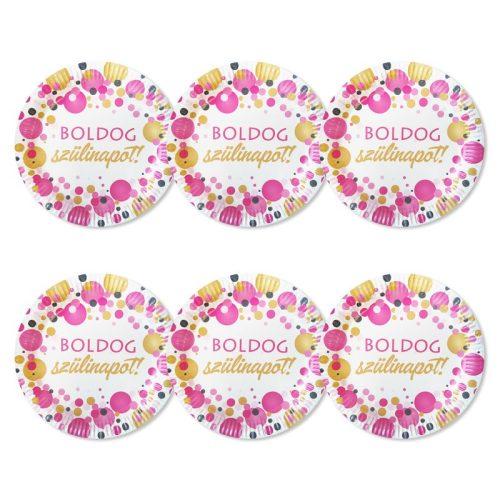 Boldog Szülinapot! Rózsaszín pasztelll Konfettis Parti Tányér, 23 cm, 6 db-os