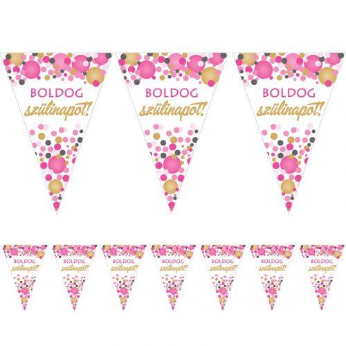 Boldog Szülinapot! Rózsaszín pasztelll Konfettis Zászlófüzér - 5 m