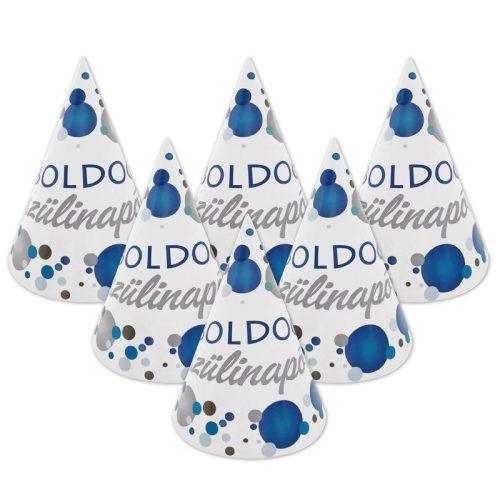 Boldog Szülinapot! Kék pasztelll Konfettis Parti Csákó - 6 db-os