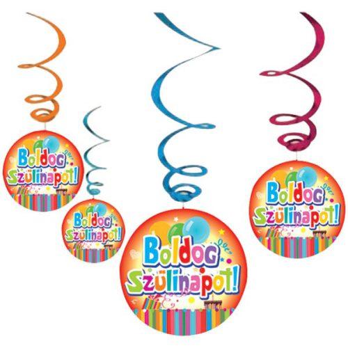 Boldog Szülinapot Színes Parti Függő Dekoráció, 6 db-os