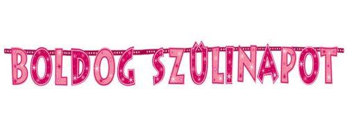 Boldog Szülinapot! Rózsaszín Lányos Betűfüzér - 2,3 m