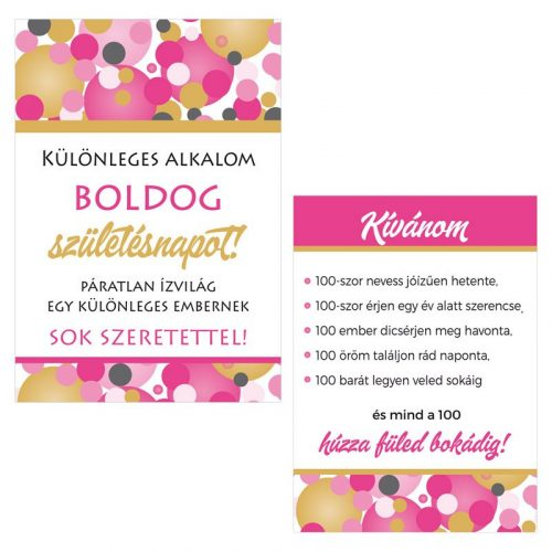 Boldog Születésnapot! Rózsaszín pasztelll Konfettis Boros Üveg Címke, 2 db-os