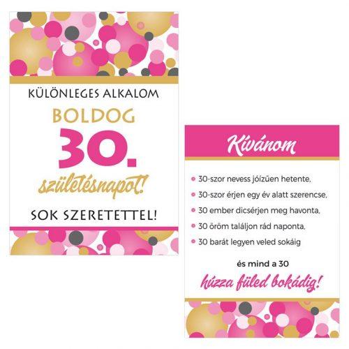 Boldog 30. Születésnapot! Rózsaszín pasztelll Konfettis Boros Üveg Címke, 2 db-os