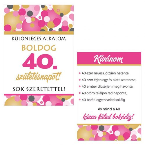 Boldog 40. Születésnapot! Rózsaszín pasztelll Konfettis Boros Üveg Címke, 2 db-os