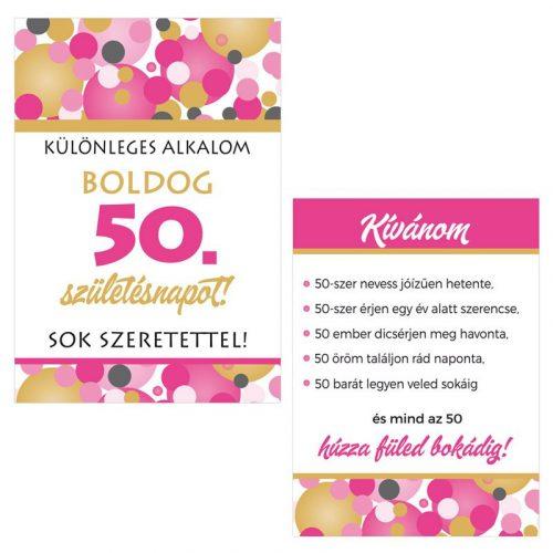 Boldog 50. Születésnapot! Rózsaszín pasztelll Konfettis Boros Üveg Címke, 2 db-os
