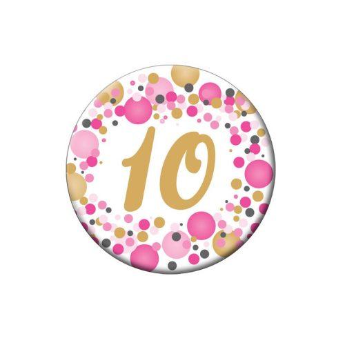 10-es Rózsaszín pasztelll Konfettis Szülinapi Számos Parti Kitűző - 5,5 cm
