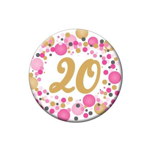 20-as Rózsaszín pasztelll Konfettis Szülinapi Számos Parti Kitűző - 5,5 cm