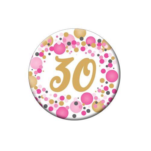 30-as Rózsaszín pasztelll Konfettis Szülinapi Számos Parti Kitűző - 5,5 cm