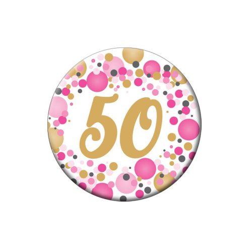 50-es Rózsaszín pasztelll Konfettis Szülinapi Számos Parti Kitűző - 5,5 cm