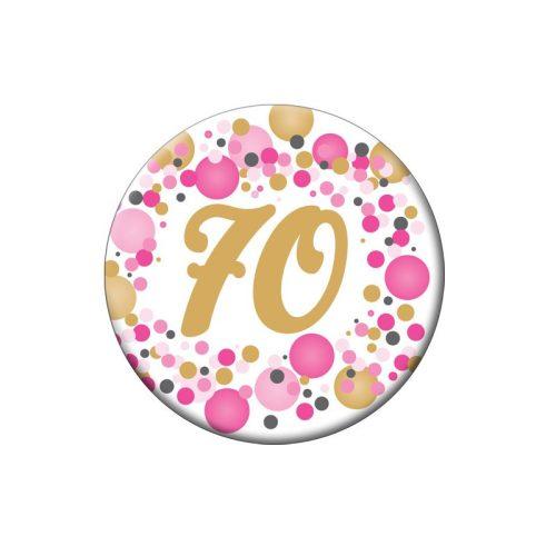 70-es Rózsaszín pasztelll Konfettis Szülinapi Számos Parti Kitűző - 5,5 cm