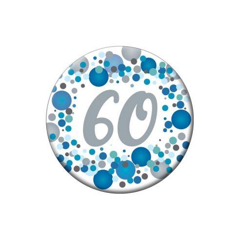 60-as Kék pasztelll Konfettis Szülinapi Számos Parti Kitűző - 5,5 cm