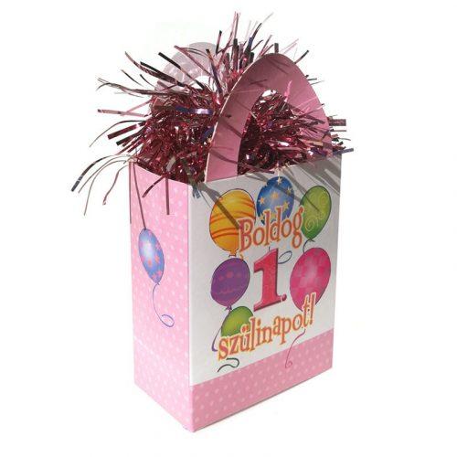 Boldog 1. Szülinapot! Léggömbös Rózsaszín Lányos Ajándéktasak Léggömbsúly - 120 gramm