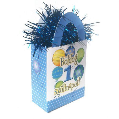 Boldog 1. Szülinapot! Léggömbös Kék Fiús Ajándéktasak Léggömbsúly - 120 gramm