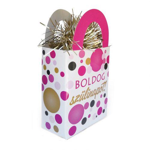 Boldog Szülinapot! Rózsaszín pasztelll Konfettis Ajándéktasak Léggömbsúly - 120 gramm