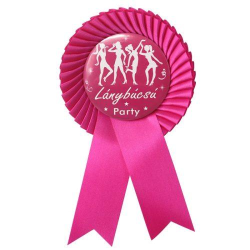 Ciklámen Szalagos Rózsaszín-Fehér Lánybúcsú Party Kitűző