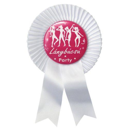 Fehér Szalagos Rózsaszín-Fehér Lánybúcsú Party Kitűző