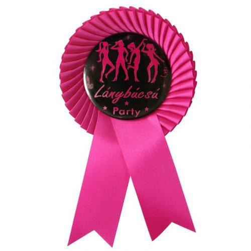 Ciklámen Szalagos Fekete-Rózsaszín Lánybúcsú Party Kitűző