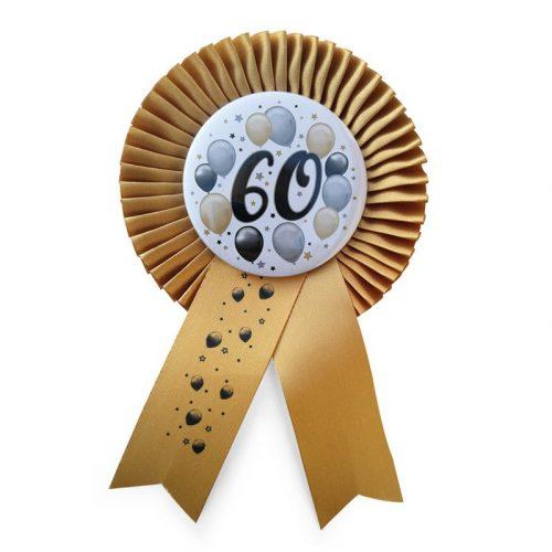 Arany Szalagos 60-as Elegáns Léggömbös Szülinapi Számos Parti Kitűző