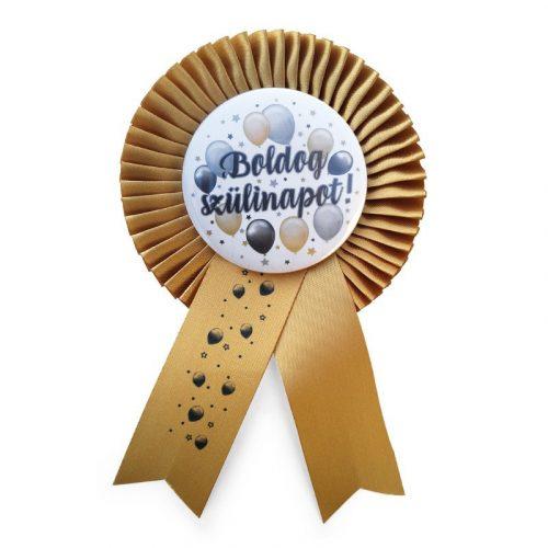 Arany Szalagos Boldog Szülinapot! Elegáns Léggömbös Parti Kitűző