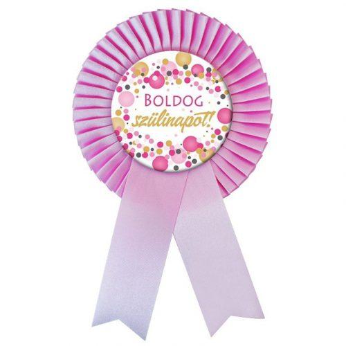 Rózsaszín Szalagos Boldog Szülinapot! Rózsaszín pasztelll Konfetti Kitűző