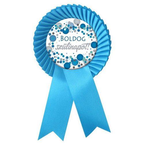 Világoskék Szalagos Boldog Szülinapot! Kék pasztelll Konfetti Kitűző