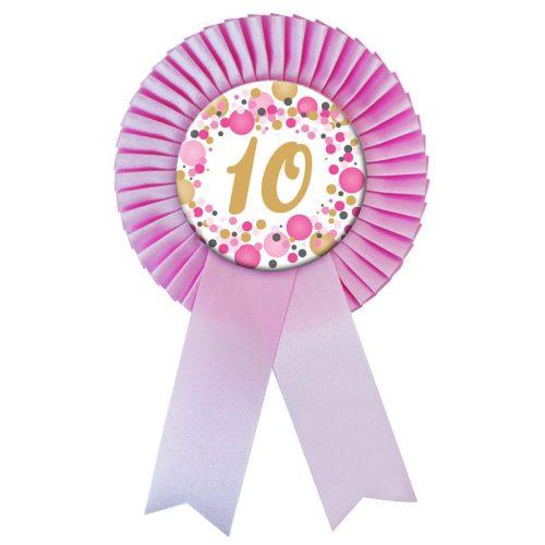 Rózsaszín Szalagos 10-es pasztelll Konfettis Szülinapi Számos Parti Kitűző