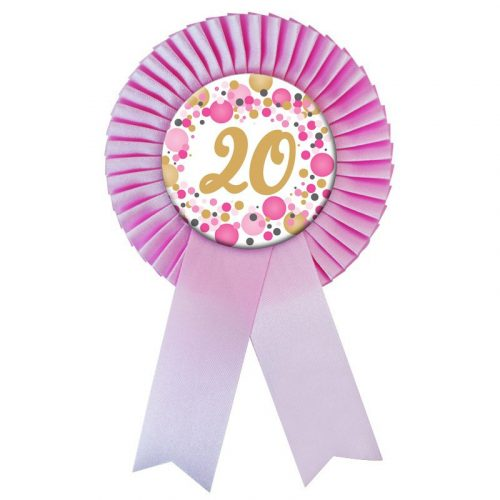 Rózsaszín Szalagos 20-as pasztelll Konfettis Szülinapi Számos Parti Kitűző