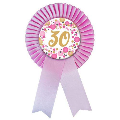 Rózsaszín Szalagos 30-as pasztelll Konfettis Szülinapi Számos Parti Kitűző