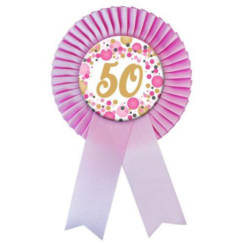 Rózsaszín Szalagos 50-es pasztelll Konfettis Szülinapi Számos Parti Kitűző